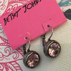 Betsey Johnson Pink Crystal Drop Earrings